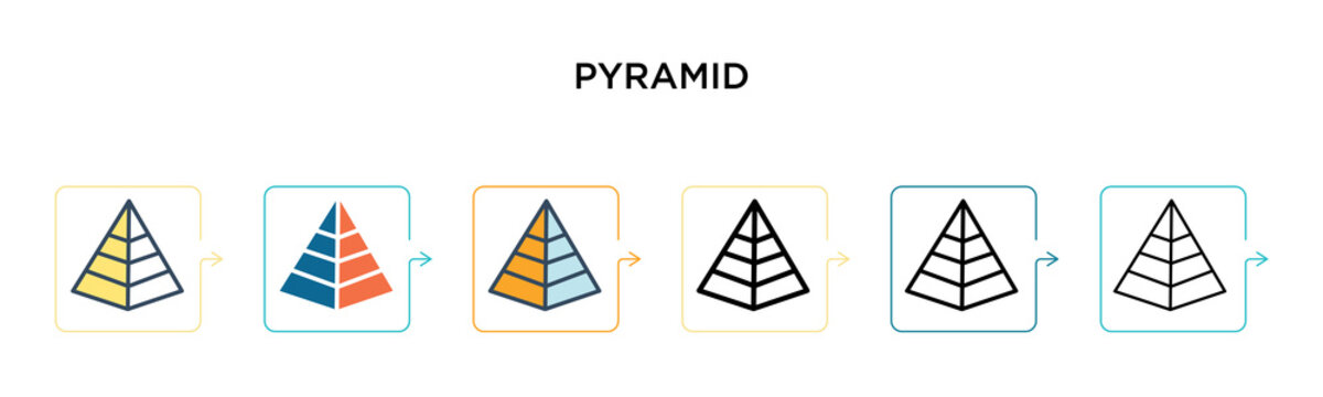 Pyramid vector icon in 6 different modern styles. Black, two colored pyramid icons designed in filled, outline, line and stroke style. Vector illustration can be used for web, mobile, ui