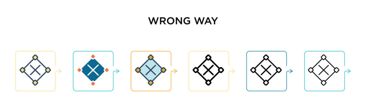 Wrong way sign vector icon in 6 different modern styles. Black, two colored wrong way sign icons designed in filled, outline, line and stroke style. Vector illustration can be used for web, mobile, ui