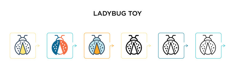 Ladybug toy vector icon in 6 different modern styles. Black, two colored ladybug toy icons designed in filled, outline, line and stroke style. Vector illustration can be used for web, mobile, ui