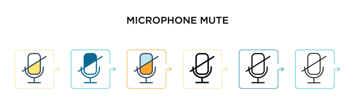 Microphone mute vector icon in 6 different modern styles. Black, two colored microphone mute icons designed in filled, outline, line and stroke style. Vector illustration can be used for web, mobile,