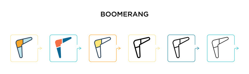 Boomerang vector icon in 6 different modern styles. Black, two colored boomerang icons designed in filled, outline, line and stroke style. Vector illustration can be used for web, mobile, ui