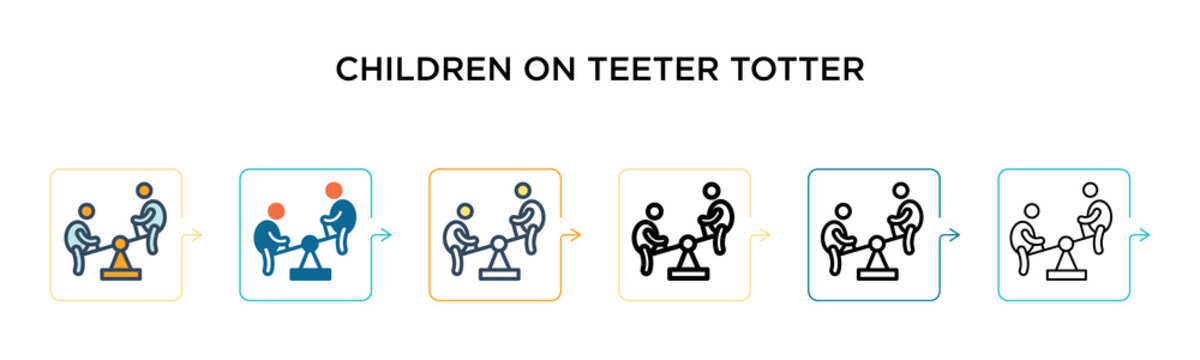 Children on teeter totter vector icon in 6 different modern styles. Black, two colored children on teeter totter icons designed in filled, outline, line and stroke style. Vector illustration can be