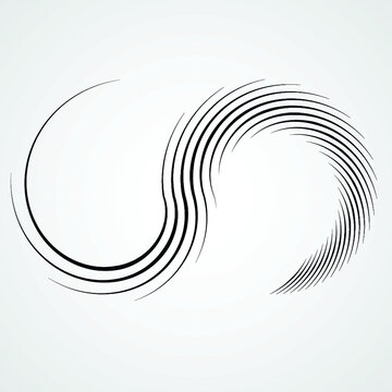 Lines in Circle Form . Spiral Vector Illustration .Technology round Logo . Design element . Abstract Geometric shape .