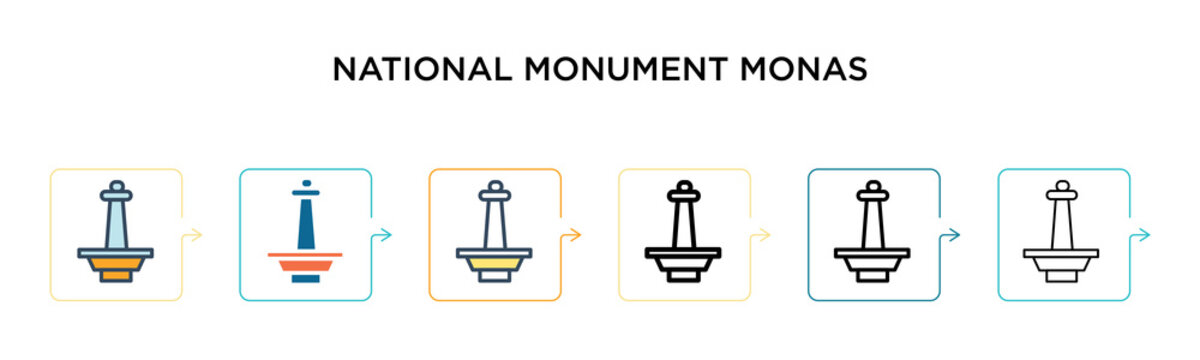 National monument monas vector icon in 6 different modern styles. Black, two colored national monument monas icons designed in filled, outline, line and stroke style. Vector illustration can be used