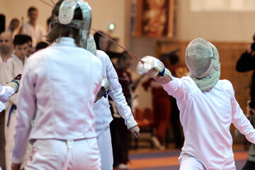 Fototapeta martial arts, fencing, two opponents