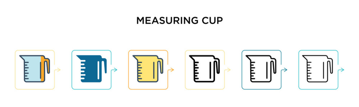 Measuring cup vector icon in 6 different modern styles. Black, two colored measuring cup icons designed in filled, outline, line and stroke style. Vector illustration can be used for web, mobile, ui
