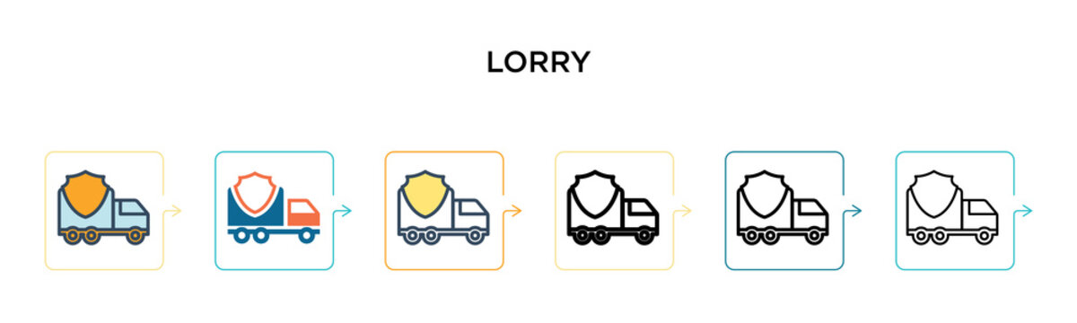 Lorry vector icon in 6 different modern styles. Black, two colored lorry icons designed in filled, outline, line and stroke style. Vector illustration can be used for web, mobile, ui