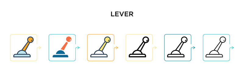 Lever vector icon in 6 different modern styles. Black, two colored lever icons designed in filled, outline, line and stroke style. Vector illustration can be used for web, mobile, ui
