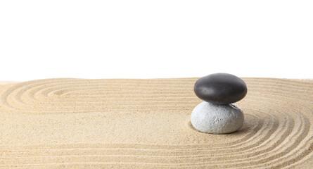 Photo sur Toile Zen pierres a sable Stones on sand with lines against white background. Zen concept