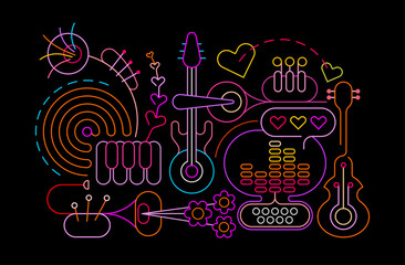 Neon colors isolated on a black background Abstract Music Art vector illustration. Design of colored silhouettes of different musical instruments.