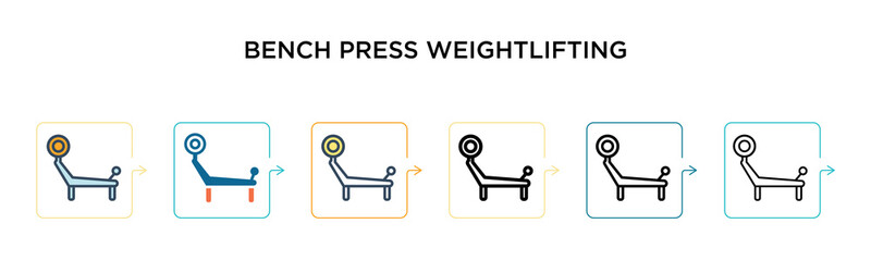 Bench press weightlifting vector icon in 6 different modern styles. Black, two colored bench press weightlifting icons designed in filled, outline, line and stroke style. Vector illustration can be