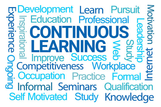 Continuous Learning Word Cloud on White Background