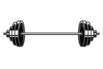 Illustration of heavy athletic barbell in engraving style. Design element for logo, label, emblem, sign, badge. Vector illustration