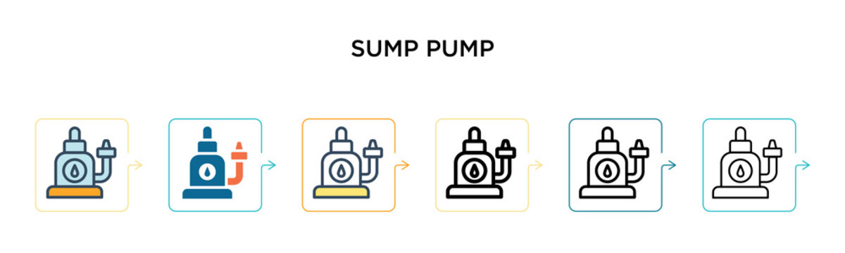 Sump pump vector icon in 6 different modern styles. Black, two colored sump pump icons designed in filled, outline, line and stroke style. Vector illustration can be used for web, mobile, ui