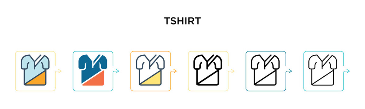 Tshirt vector icon in 6 different modern styles. Black, two colored tshirt icons designed in filled, outline, line and stroke style. Vector illustration can be used for web, mobile, ui