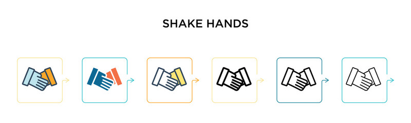 Shake hands vector icon in 6 different modern styles. Black, two colored shake hands icons designed in filled, outline, line and stroke style. Vector illustration can be used for web, mobile, ui