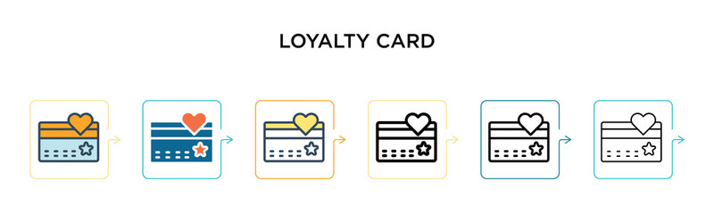 Loyalty card vector icon in 6 different modern styles. Black, two colored loyalty card icons designed in filled, outline, line and stroke style. Vector illustration can be used for web, mobile, ui