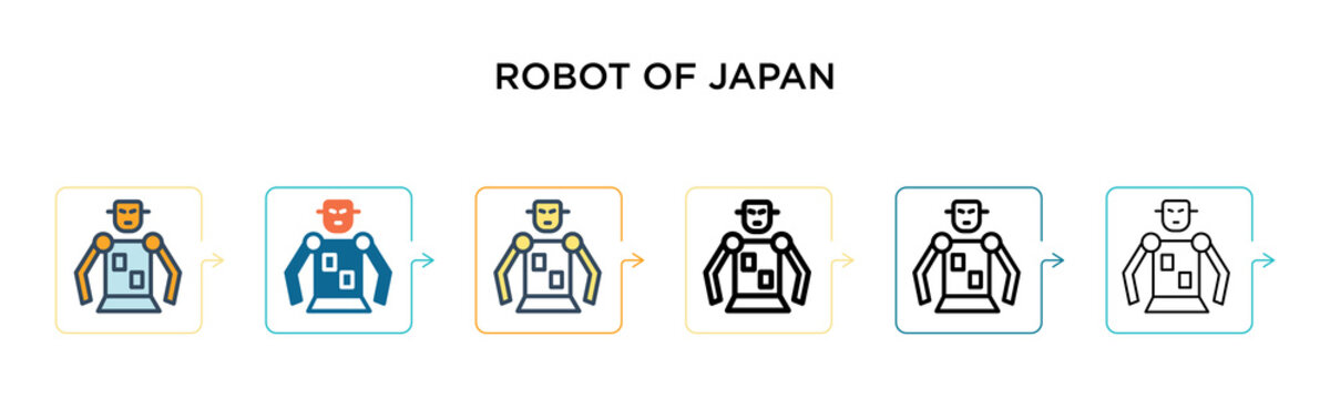 Robot of japan vector icon in 6 different modern styles. Black, two colored robot of japan icons designed in filled, outline, line and stroke style. Vector illustration can be used for web, mobile, ui