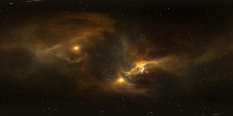 360 degree stellar system and nebula. Panorama, environment 360° HDRI map. Equirectangular projection, spherical panorama
