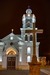 Iglesia San Blas in Cuenca, Ecuador, seen illuminated at night