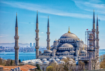 The blue mosque is seen overlooking the Bosphorus Strait in Istanbul, Turkey