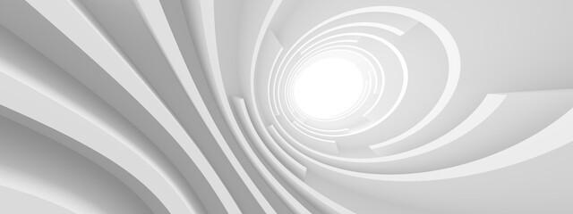 Fotobehang - Modern Hall Wallpaper. Curved Graphic Design