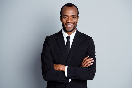 Portrait of true leadership entrepreneur wealthy afro american company owner man cross hands ready decide work solution wear blazer isolated over gray color background
