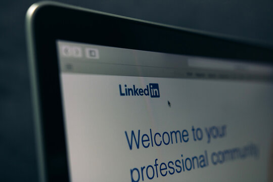 CHIANG MAI ,THAILAND - May 10, 2020 : LinkedIn login page in a laptop screen. LinkedIn is a social networking website for service that operates website with people in professional occupations.
