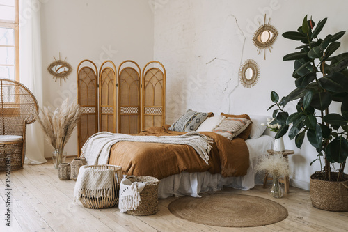 Fototapete Comfort Apartment In Bohemian Style Interior With Hygge Bedroom Brizmaker