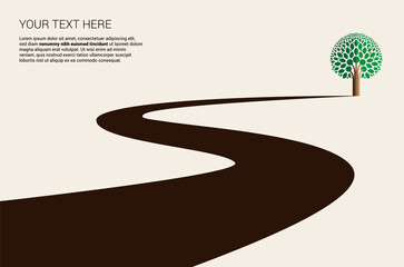 Country road curved highway vector perfect design illustration or logo. The way to nature, trees and forest camping and tourism travel theme. Can be used as a road banner or billboard Wall mural