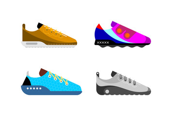 Four different modern trainers. Colored vector designs of sportive shoes isolated on a white background. Running shoes.