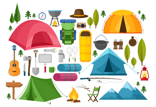 Vector set of camping equipment symbols, icons and elements. Summer hiking collection with tent, hat, binoculars, campfire, mountains, camera, bag, guitar, fishing rod, compass.