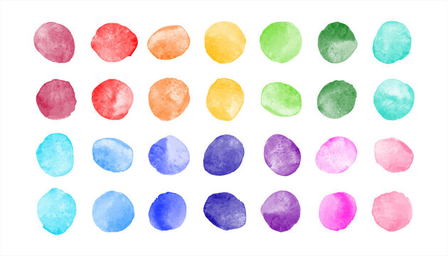 Watercolor spots, uneven circles, stains vector collection. Rainbow colors hand drawn round smears, smudges set. Colorful watercolour painted dots illustration, graphic design element. Text background