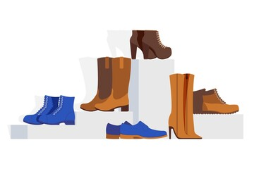 Women different type shoes collection, vector illustration. Showcase online footwear store stilettos, ankle, western boots, man shoes and sneakers isolated on white background, shoe sale. Wall mural