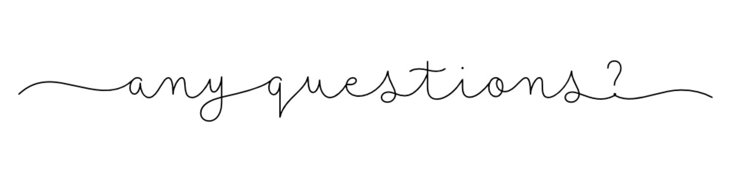 ANY QUESTIONS? black vector monoline calligraphy banner with swashes
