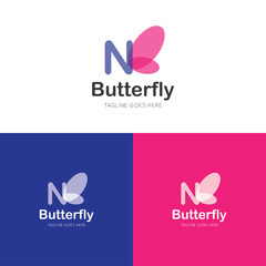 initial letter n butterfly logo and icon vector illustration design template