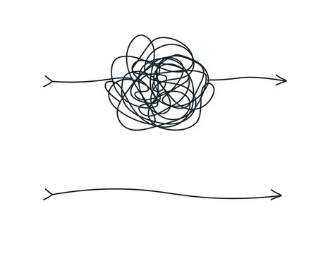 Unraveling chaos tannle. Psychotherapy hand drawn concept. Messy flat line. Chaos path