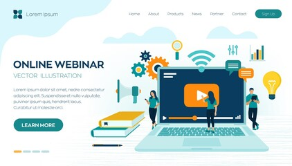 Webinar. Internet conference. Web based seminar. Distance Learning. E-learning concept with icons and characters. Video tutorials. Online courses. Workplace and working on laptop. Vector illustration.