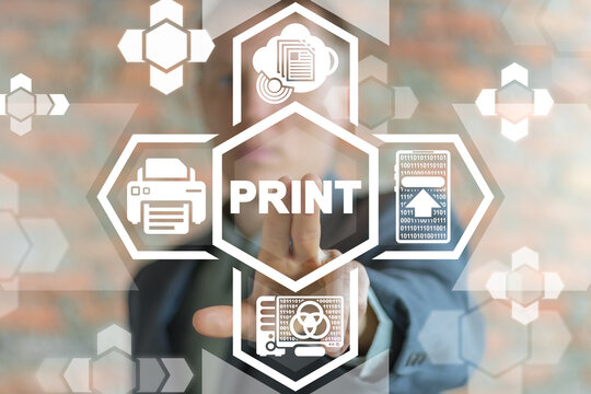 Print Printing Business Technology. General Networking Printer Office Polygraphy Paperwork Concept.
