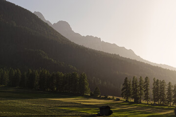Sunset light over mountains of Sesto Dolomites, South Tyrol, Alps, Italy