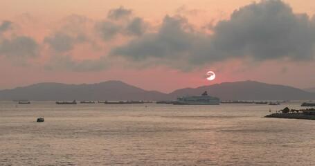 Wall Mural - Hong Kong city beautiful sunset