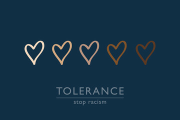 stop racism tolerance concept with hearts in different colors vector illustration EPS10