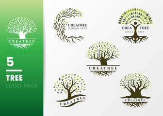 Green Tree and roots logo design vector isolated on grey background, Vector illustration silhouette of a tree with round shape.
