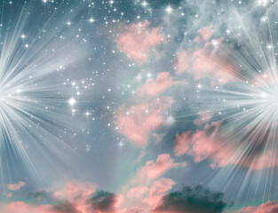 Wall Mural - abstract starry mystic spiritual religious angel magic background with rays of light, stars and pink gray color
