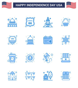 4th July USA Happy Independence Day Icon Symbols Group of 16 Modern Blues of security; sweet; launcher; party; usa