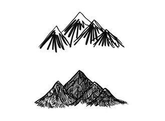 Set Black grunge mountains in different styles. Raster illustration of mountain ranges. Black ink drawing of mountains