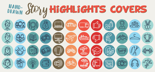 Instagram Highlights Stories Covers. Hand-drawn line icons and color palette. Characters and family, travel and transport, sport, pregnancy moms. Vector