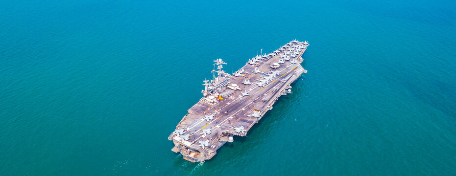 US  Aircraft Carrier Nuclear ship, Military navy ship carrier full loading fighter jet aircraft for prepare troops, The USS Ronald Reagan