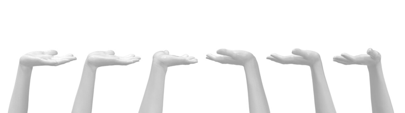 White Female Hand Gesture Present or Stand by. Set of Various Views. 3D Render Isolated on White Background.