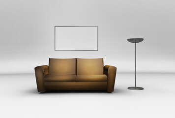 Living room mock up to promote, paintings, wallpapers or decorations (3D render)